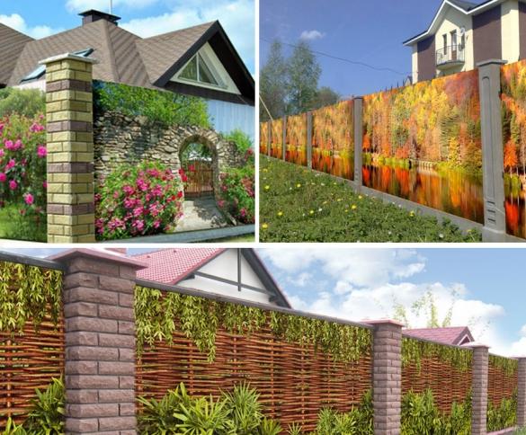 Вы можете украсить забор сеткой с напечатанной на ней любым изображением
