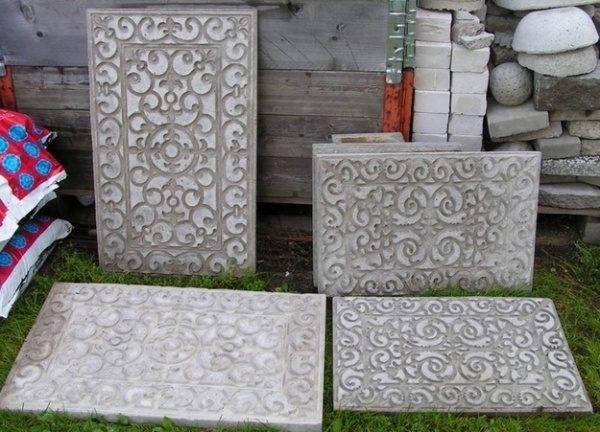 Цементные плиты с фактурой, сделанной из резинового коврика