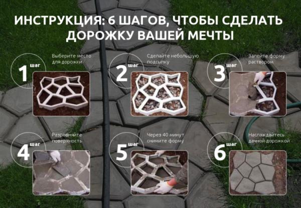 Как сделать садовую дорожку из цемента с помощью специальной формы