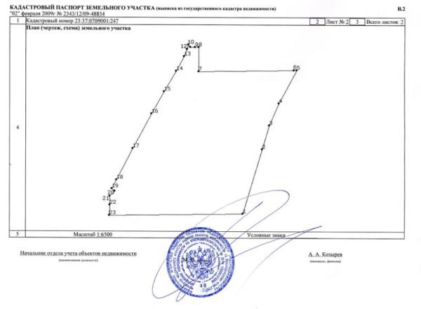 Фрагмент кадастрового паспорта землевладения.