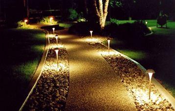 Хорошо освещаемая садовая дорожка