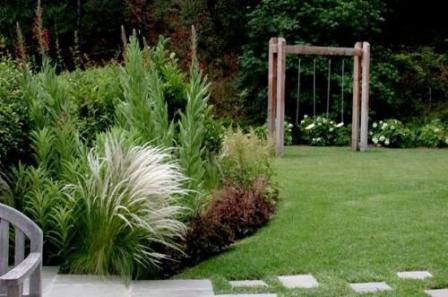 Использование грубых газонных трав позволит избежать вытаптывания лужайки