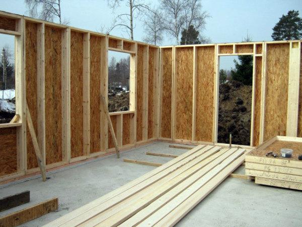 Каркасный дачный дом в процессе строительства.