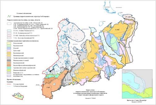 Карта мониторинга водоносных пластов Северо-Западного Федерального округа