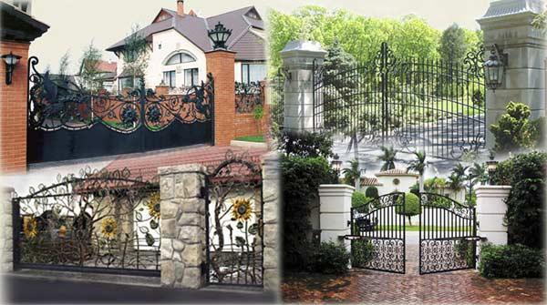 Кованый металлический забор скомбинирован с колоннами из природного камня и кирпича