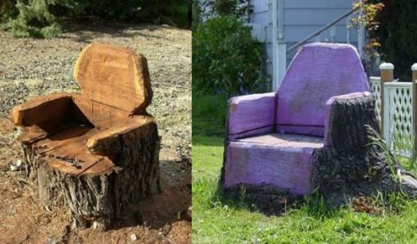 На фото - кресла из пней