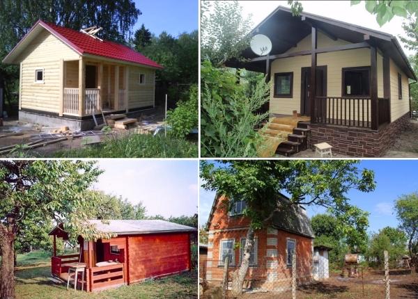 На фото - варианты домиков для дачного участка из разных материалов