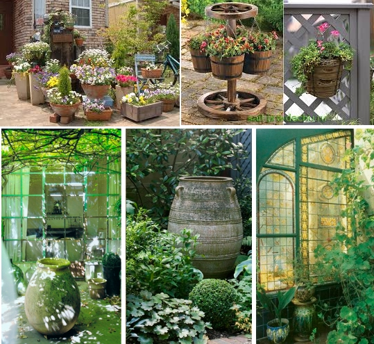 На фото - варианты вазонов и горшков для дачного участка и сада