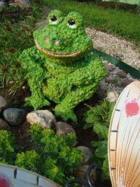 На фото — лягушка из монтажной пены в огороде