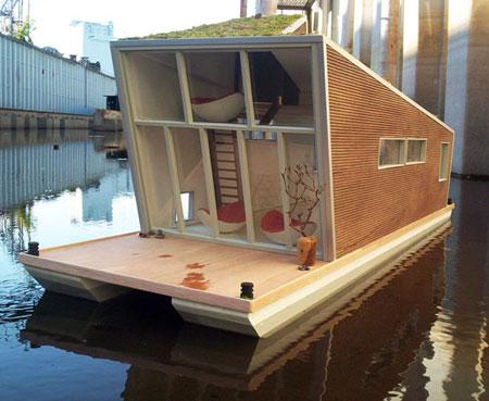 На фото – современный дизайнерский проект плавучего дома, только представьте, как все будут завидовать, когда вы будете дрейфовать возле берега