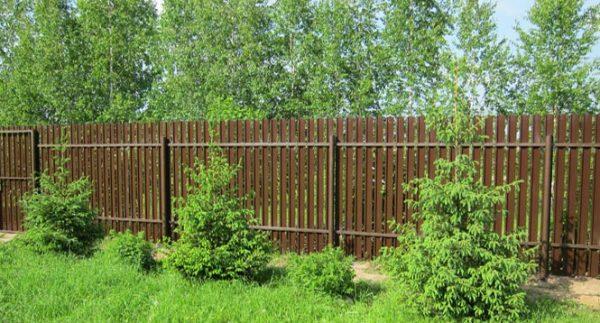 На фото демонстрируется забор, сделанный из евроштакетника.