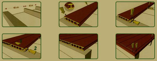 На фото показана схема монтажа напольного покрытия из террасной доски.