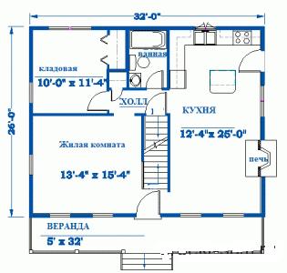 Одноэтажная планировка дачного дома