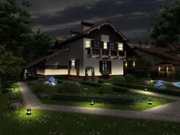 Освещение дачи светодиодными прожекторами
