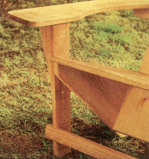 Передняя часть деревянного кресла для дачи