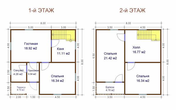 План двухэтажного строения.