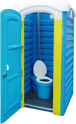 Пластиковая кабинка с биотуалетом