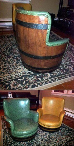 Пример красиво сделанных стульев из бочек