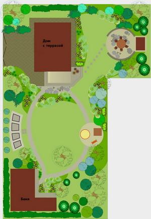 Пример плана Г-образного участка