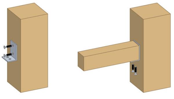 Пример соединения посредством крепежных уголков