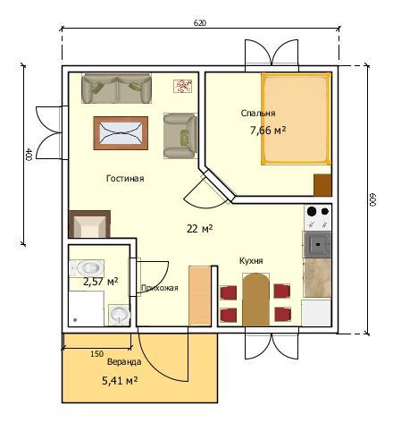 Пример возможной планировки комнат и будущей мебели