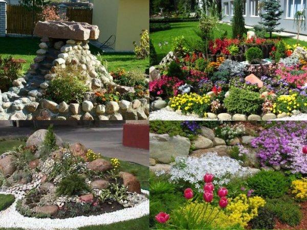 Примеры цветочных горок (альпинариев)