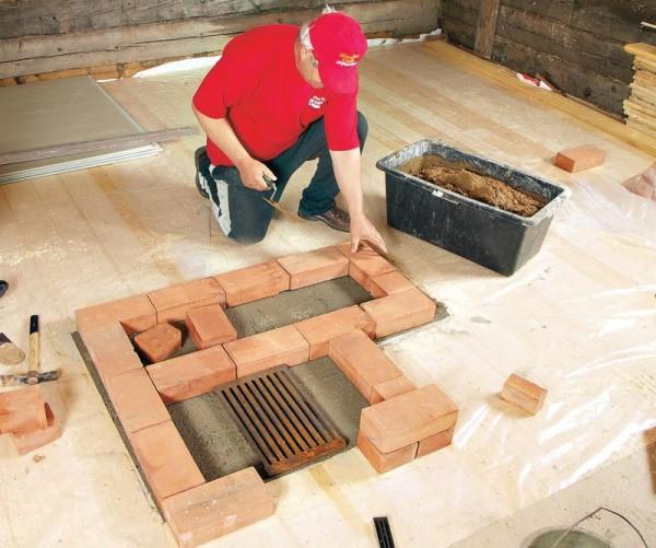 Процесс кладки кирпича для будущего камина