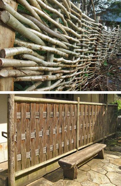Различные варианты плетеных оградок, сделать которые можно самостоятельно.