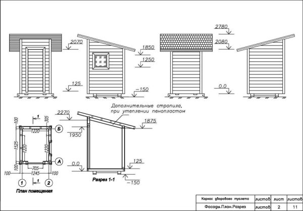 Размеры кабинки