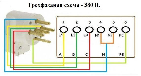 Разводка проводов для трехфазного подключения (380 Вольт).