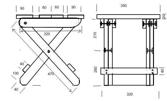 Схема складного табурета