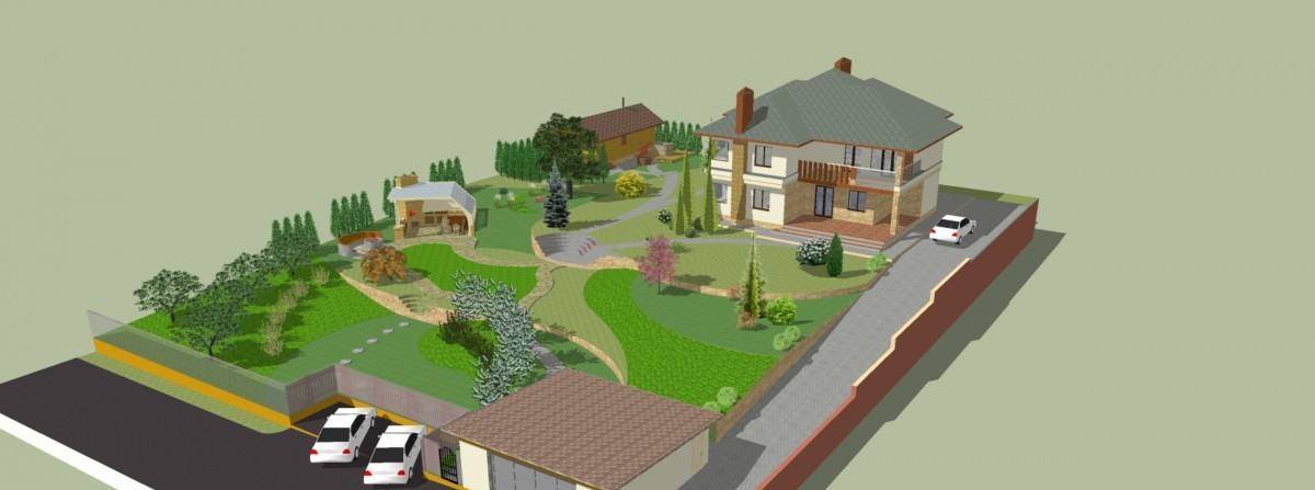 Трехмерная визуализация загородного участка в программе компьютерного моделирования.