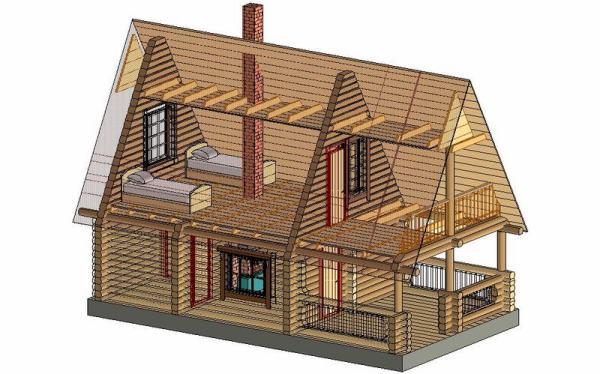 Трехмерный проект дачного домика из бруса