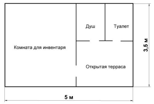 Три в одном. Варианты: 1 - душ, туалет, кладовка; 2 - душ, кладовка, комната отдыха; 3 - душ, кладовка, кухня