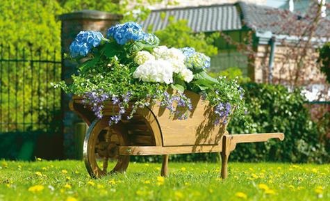 Украсить участок цветами своими руками можно с помощью мобильной клумбы, изготовленной из старой тележки или кровати
