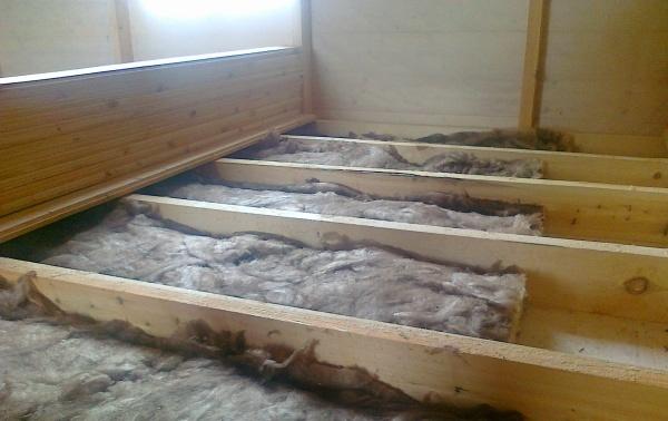 Утепление половой конструкции базальтовой ватой