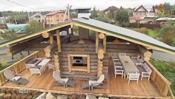 В некоторых случаях площадь такого дополнительного сооружения может превышать основное строение и располагаться по всему его периметру, что отлично подходит для небольших дачных домов