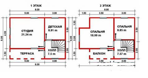 Вариант двухэтажной планировки