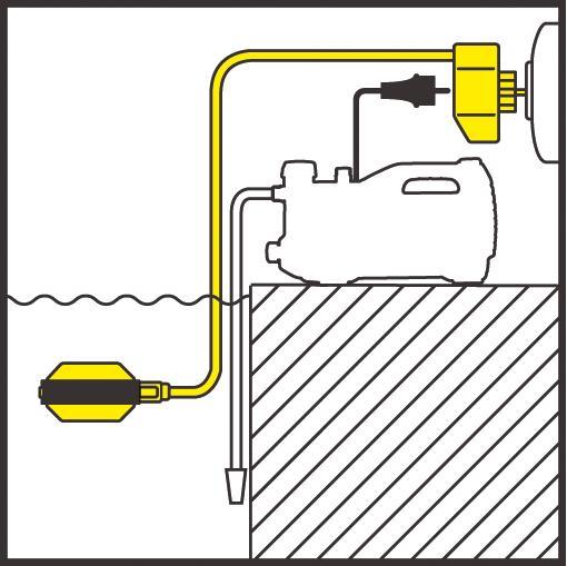 Вариант работы поплавкового выключателя.