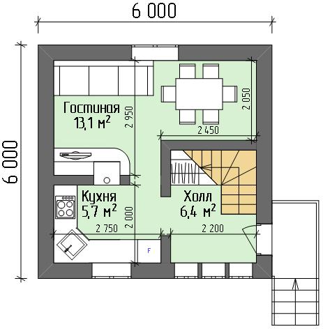 Возможная планировка первого этажа.